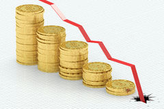 Falling bar chart with golden coins Stock Image