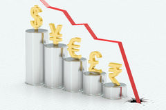 Falling bar chart with symbols of currencies, 3D rendering Royalty Free Stock Photos