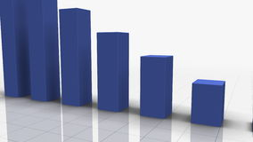 Falling Bar Graph in BLUE stock video