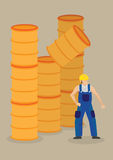 Falling Barrel on Worker Workplace Accident Vector Illustration royalty free illustration