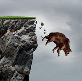 Falling Bear Market. Financial decline business and plummeting finance concept for losing investment and value taking a nose dive as a bear in a free fall  dive Royalty Free Stock Images