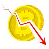 Falling bitcoin concept - gold coin with currency sign broken. By decreasing red graph. Cartoon financial illustration. Isolated vector image on white Stock Images