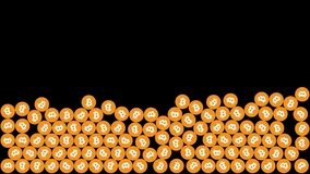 Falling bitcoin. 2D animation. Orange bitcoin coins fall and collide