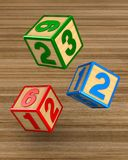 Falling blocks with numbers. 3D illustration.  stock illustration
