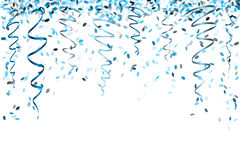 Falling blue confetti Stock Photos