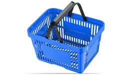 Falling blue empty shopping basket. 3d illustration. 3D render, isolated on white background Royalty Free Stock Images