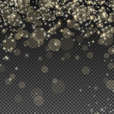 Falling Bokeh and Sparkles. Abstract Light Overlay Effect on Transparent Background. Vector Illustration. Falling Bokeh and Sparkles, Glowing Confetti Royalty Free Stock Photography