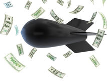 Falling bombs falling dollar Stock Photo