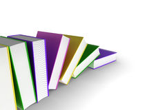 Falling books. 3d illustration of a row of books Stock Photos