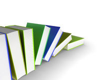Falling books. 3d illustration of a row of books Stock Photo