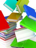 Falling books from a column. Isolated on white background. 3D render Royalty Free Stock Photography