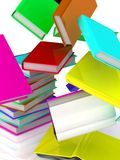 Falling books from a column. Isolated on white background. 3D render Royalty Free Stock Image