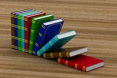 Falling books on table. 3D illustration.  Stock Photo