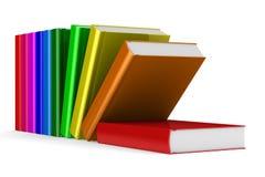Falling books on white background. 3D image Stock Photos
