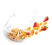 Falling bowl with corne flakes and strawberry Royalty Free Stock Image