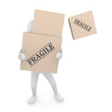 Falling box. Falling Fragile cardboard box off a box pile held by 3D man Stock Photos