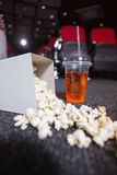 Falling box of pop corn and drink Royalty Free Stock Photo