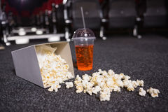 Falling box of pop corn and drink Stock Photo