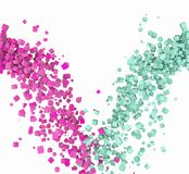 Falling Boxes. Green and Pink boxes falling down royalty free stock image