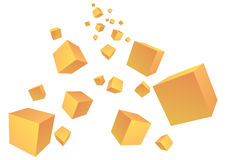 Falling boxes. Cubical falling boxes in white background Royalty Free Stock Photo