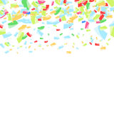 Falling bright confetti abstract background. Festive colorful su. Rprise greeting card layout template. Vector illustration Royalty Free Stock Photos