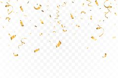 Falling bright Gold Glitter confetti celebration, serpentine isolated on transparent background. New year, birthday stock illustration