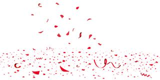 Falling bright red Glitter confetti, stars celebration, serpentine. Colorful confetti flying on the floor. New year stock illustration