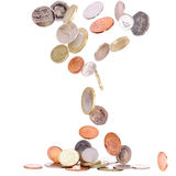 Falling British Coins. Heap of british coins falling to the ground royalty free stock images