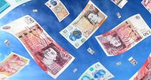 Falling British Money Stock Image