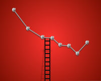 Falling business graph and ladder concept Royalty Free Stock Photos