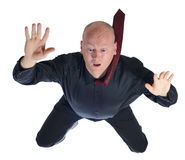 Falling businessman. Sky diving  falling businessman isolated on white background Royalty Free Stock Photography