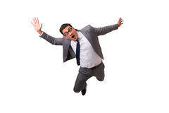 The falling businessman isolated on the white background royalty free stock images