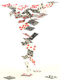 Falling cards. Playing cards falling down on white background Stock Image