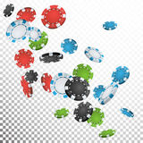 Falling Casino Chips Vector. Flying Realistic Gambling Poker Chips Explosion. Transparent Background. Casino Prize Money Royalty Free Stock Photography