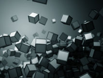 Falling chaotic cubes objects abstract blue futuristic background. 3d render illustration Stock Illustration
