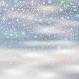 Falling christmas decoration snow  on blured background, Stock Images