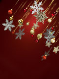 Falling christmas decorations Royalty Free Stock Images
