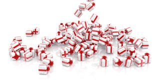 Falling Christmas gift boxes isolated stock image