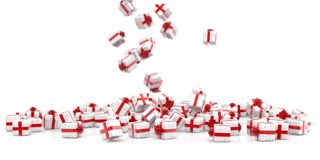 Falling Christmas gift boxes isolated stock images
