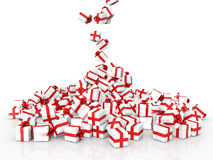 Falling Christmas gift boxes. On white background Stock Images