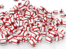 Falling Christmas gift boxes. On white background Stock Photos