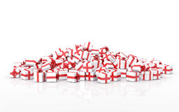Falling Christmas gift boxes. Christmas gift boxes on white background Stock Image
