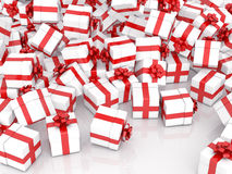 Falling Christmas gift boxes. Christmas gift boxes on white background Royalty Free Stock Photo