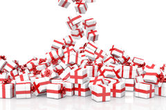 Falling Christmas gift boxes. On white background Stock Photo