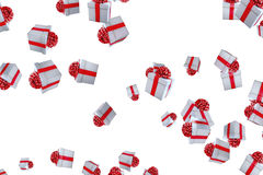 Falling christmas gift boxes on white background, holiday festive event Stock Photography