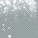 Falling Christmas Shining beautiful snow isolated on transparent background. Snowflakes, snowfall. snowflake vector. Illustration Royalty Free Stock Photos