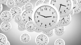 Falling clocks on grey background