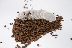 Falling coffee beans Stock Image