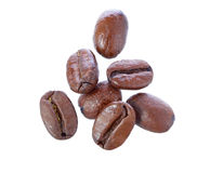 Falling coffee beans. Royalty Free Stock Image