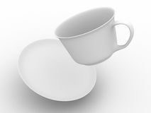 Falling coffee cup with saucer. Royalty Free Stock Images